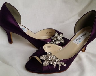 Wedding Shoes Eggplant Purple Wedding shoes Eggplant Purple Bridal Shoes Crystal Flower -100 Additional Colors To Pick From