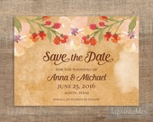 Rustic Save the Date Invitation, Digital Wedding Invite, Watercolor, Floral, PRINTABLE