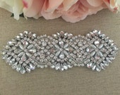 Rhinestone Applique- Bridal Applique - Wedding Applique - Pearl and Rhinestone Wedding Applique