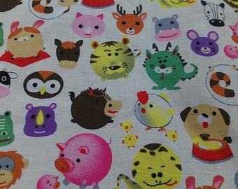 "Colorful animals - 1 yard - 4 colors - cotton -kawaii,fabric,deer,cow,owl,pig,snake,sheep - Check out with code ""5YEAR"" to save 20% off"