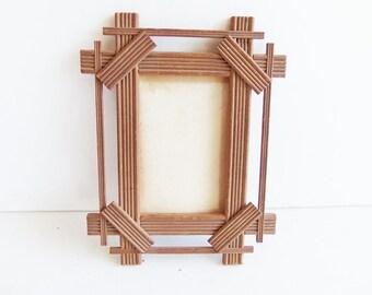 Vintage Criss Cross Picture Frame, Tramp Art Frame