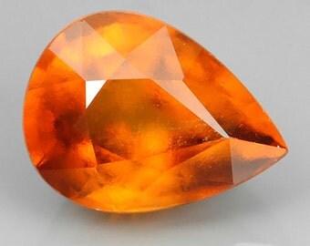 HESSONITE GARNET (20495)  Brilliant Orange 8 x 6mm Hessonite Garnet - Faceted