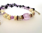 OOAK Gemstone Necklace, Amethyst Stone Beads, Onyx, Silver Plated Spacers, Crystal Spacers, Purple Acrylic Beads, Metal