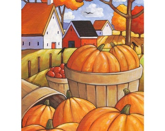 PAINTING Original 12x16 Fall Pumpkin Folk Art by Cathy Horvath, Colorful Trees, Farm Cottage Crow Autumn Landscape Acrylic on Canvas Artwork