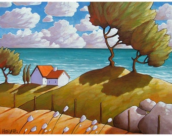 Seaside Windy Wave Cottages Art Print, Coastal Folk Art Summer Seascape, Modern Reproduction 8x11 Giclee Artwork by Cathy Horvath