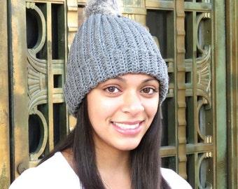Crochet Hat, Hat with fur Pom Pom, Beanie With Fur, , Adult, Crochet, Women, Teen
