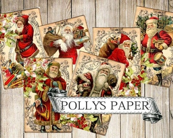 Traditional Santa  Digital Images printable download file for Cards and Tags and Crafts Polly's Paper Studio