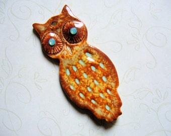 Red Owl With Green Eyes Pottery Pendant