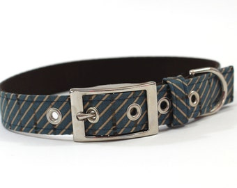 Dog Collar with metal buckle- Blue and Tan Diagonal Stripes