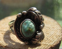 Vintage Southwestern Old Pawn Silver Ring with Natural Turquoise Stone Women's Ladies Size 6 Navajo Handmade