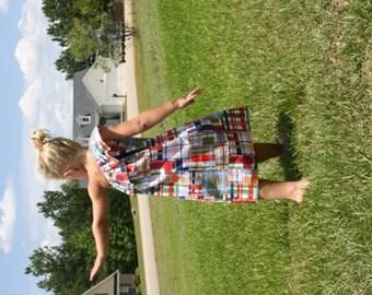 Girls micheal miller madras one shoulder dress