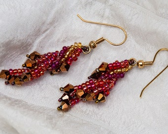 Beadwork Spiral Wing Earrings in Scarlet Red and Copper