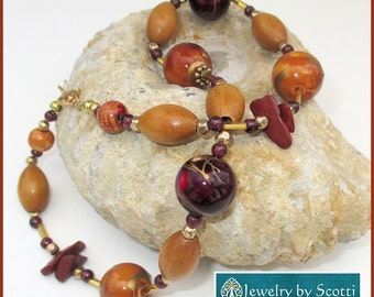 Chunky Beaded Necklace Wood Gemstone Vintage Beads Glass Metal Violet Gold Tan Statement Jewelry 16inches Matching Earrings Available