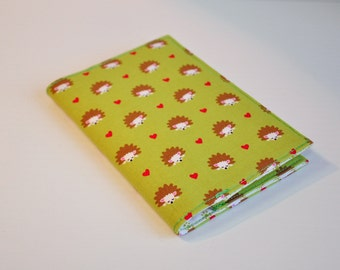 Passport Cover Sleeve holder  Fabric Travel Holiday Fun cute Hedgehogs and hearts on avocado green background
