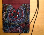 Australian Print Fabric Quilted Snap Bag Purse Handbag Handmade 6-3/4 X 8-1/2