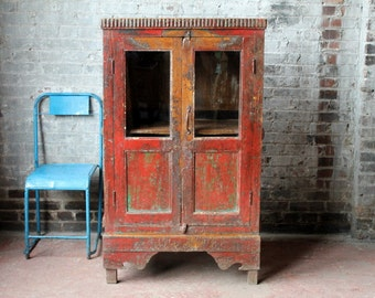 Red Cupboard Distressed Antique Indian Farm Chic Warm Industrial Kitchen Bathroom Cabinet Curio Boho Moroccan Decor