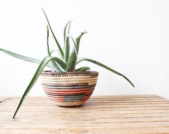 vintage woven basket bowl