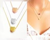 Heart Necklace.Silver, Gold, Rose Gold necklace. Minimalist Birthday Script Bridesmaid Wedding valentine's day gift.