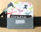 Business Card Pocket for Camera Strap - Grey Linen - Ready to Ship