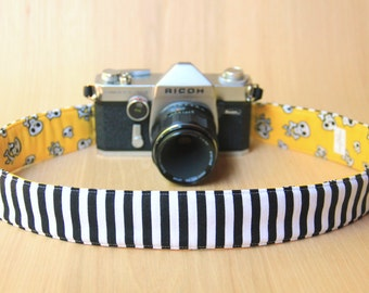 Camera Strap for DSLR - Crossbody, Reversible, Quick Release - Happy Skulls and Black and White Stripes - Ready to Ship
