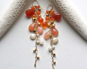 Orange Cluster Earrings, Peach Moonstone Earrings, Orange Ombre Earrings, Long Carnelian Dangle, Silverite Earrings, Long Fringe Earrings