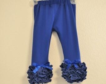 Royal Blue Leggings with Full Ruffles / Girls Leggings