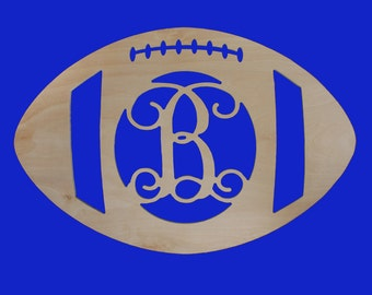 "18"" Unfinished Wood Football Single Initial monogram"