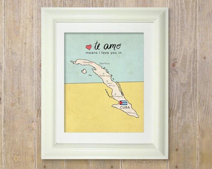 I Love You in Cuba // Typographic Print, Map, Giclee, Kids Baby Nursery, Illustration, Spanish Language, Travel Theme, Digital Art Print