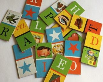 Lot 7 vintage domino picture game cards