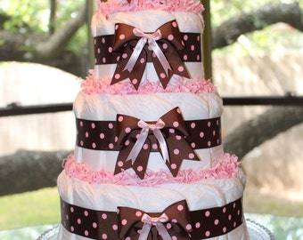 Four Tier Brown & Pink Polka Dot Diaper Cake Gift For A Baby Girl, 80 Plus Diapers!  Shower Or Hospital Gift, Centerpiece, Newborn