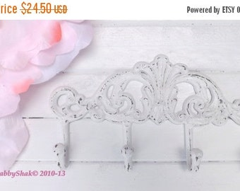 On Sale Shabby Chic White Metal Wall Hook /  Coat Rack  / Bathroom hook /  Shabby chic /  Towel Rack / Shabby Chic Decor