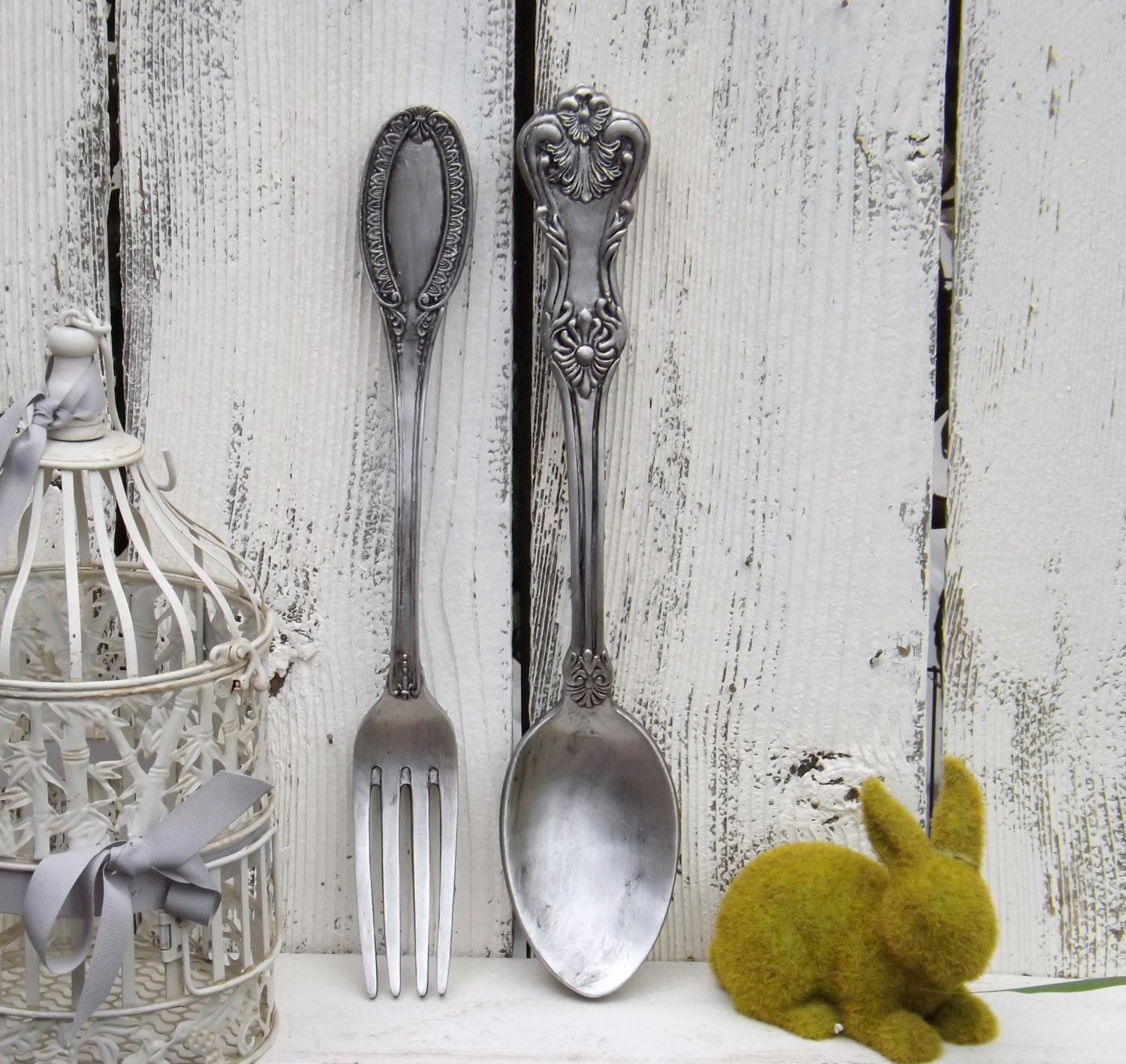 Ex Large Fork And Spoon Wall Decor / Shabby Chic / Rustic