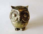 Vintage Brass Owl, Petite Owl Figurine or Desk Ornament, Nursery Decor, Zoo Animal, Farmhouse Chic