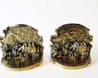Vintage PMC Stagecoach Bookends, Ye Olde Coaching Days, Western Decor
