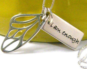 i am enough butterfly wing hand stamped word tag sterling silver necklace small