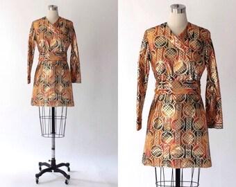 1960s Metallic Mini Dress // 60s Vintage Krist San Francisco Formal Tunic Dress // Small - Medium