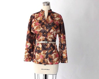 1960s Jacquard Metallic Cocktail Jacket // 60s Vintage Japanes Floral Button Front Jacket // Medium
