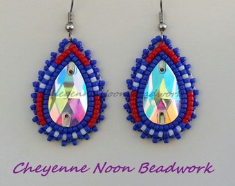 Native American Beaded Earrings - NFL Team Colors - Giants
