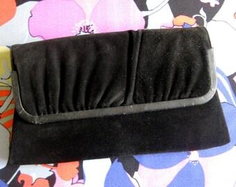 Vintage 1950s Black Clutch MASTERCRAFT Suede Leather Handbag