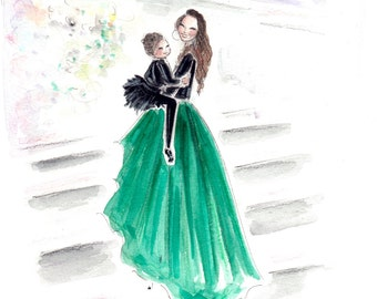 Mommy and Me Portait, Custom portrait, Custom Fashion illustration, custom illustration , portrait illustration