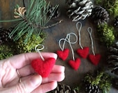 Custom listing for Shannon: Felted wool heart ornaments, set of 5, Red