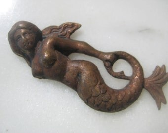 Rare Mermaid Brass Stamping: Original Authentic Older Vintage French Art Nouveau Mermaid Finding, Decoration, Trim, Dark Patina, 43mm, 1 pc.