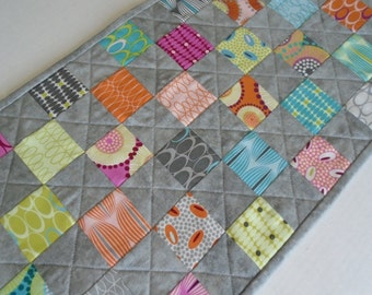 Contemporary Quilted Table Runner, Grey Table Runner, Coffee Table Runner, Rainbow Colors, Modern Table Runner, Zen Chic by Moda