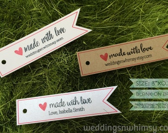 Made with Love Tags - 30 Pennant Custom Gift Tags / Favor Tags - Wedding Tags / Shower Tags / Birthday Tags / Business Tags / Product Tags