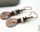 Lost in Petra - long dangle earrings in browns with picture jasper, Czech glass and Swarovski