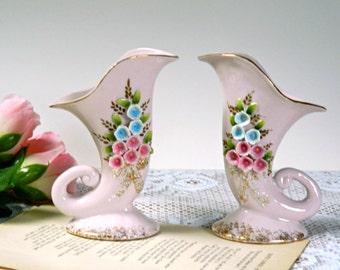 Vintage Pink Floral Cornucopia or Horn of Plenty Decorative Vases. Tea Party or Wedding Table Centerpiece. Display China. Home Decor.