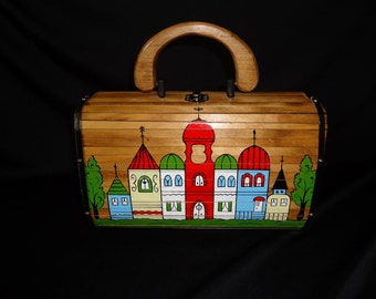 Cityscape Wooden BARREL Shaped Vintage 1960's Women's Handbag Purse
