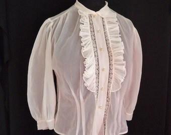 Tuxedo Ruffled Sheer Nylon Vintage 1950's Women's Rockabilly Blouse Shirt S M