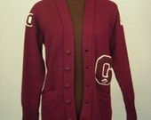 Vintage 60's Sweater Cardigan Letter Sweater Unisex Burgundy Size Womens S / Men's XS / Youth XL
