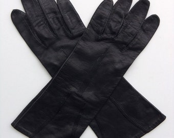 Vintage 60's Gloves Women's Black Leather with Design Size 6.5